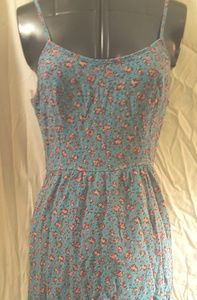 Adorable Teal Floral Strappy Dress Elastic Back